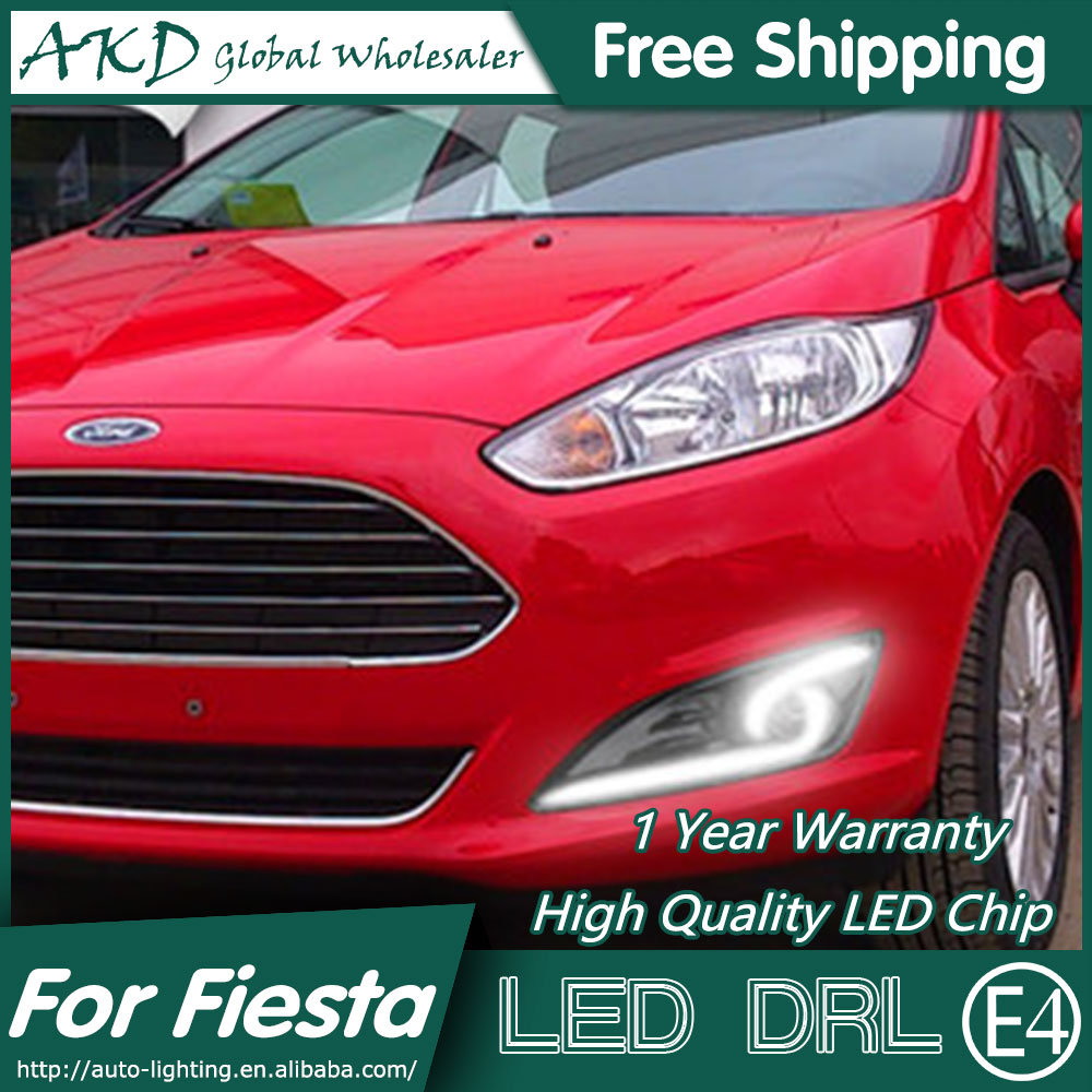 AKD Car Styling for Ford Fiesta DRL 2013-2014 Cob Signal DRL LED Fog Lamp Daytime Running Light Fog Light Parking Accessories tonlinker 3 pcs diy car styling pu leather full surround special food mat cover case stickers for ford fiesta 2013 accessories