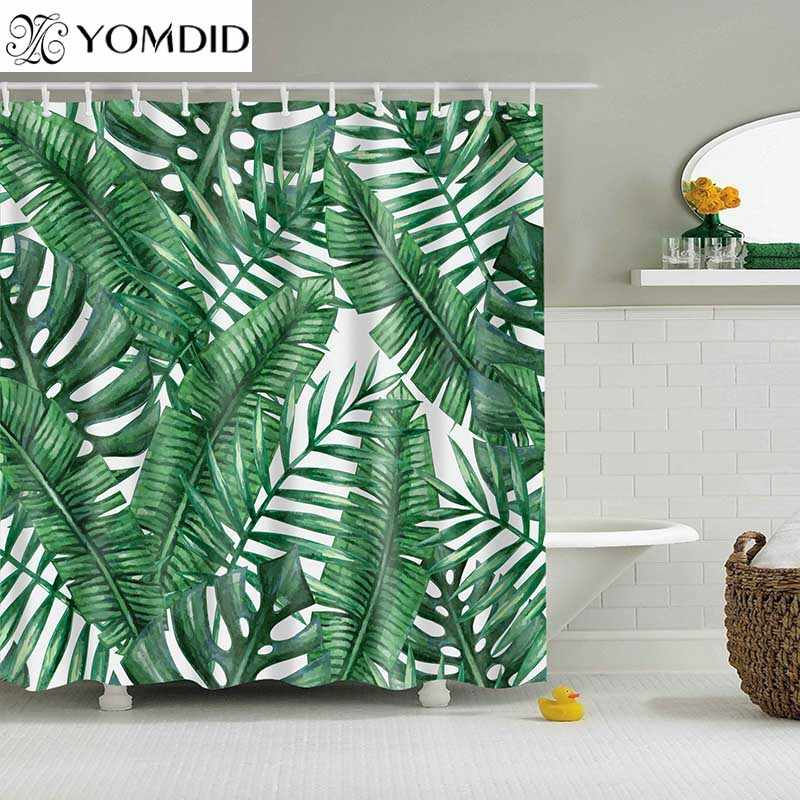 Green Tropical Plants Shower Curtain Bathroom Waterproof Polyester Shower Curtain Leaves Printing Curtains for bathroom shower