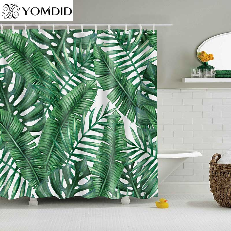 1PC Green Tropical Plants Shower Curtains for Bathroom Waterproof 100% Polyester Fabric Shower Curtain Leaves Printing Curtain