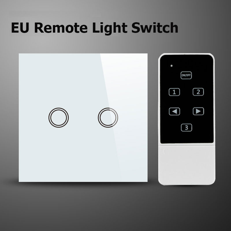 Makegood EU Standard 2 Gang 1 way Remote Control Switch Crystal Glass Panel Touch Wall Light Switch With LED Indicator uk standard remote touch wall switch black crystal glass panel 1 gang way control with led indicator high quality