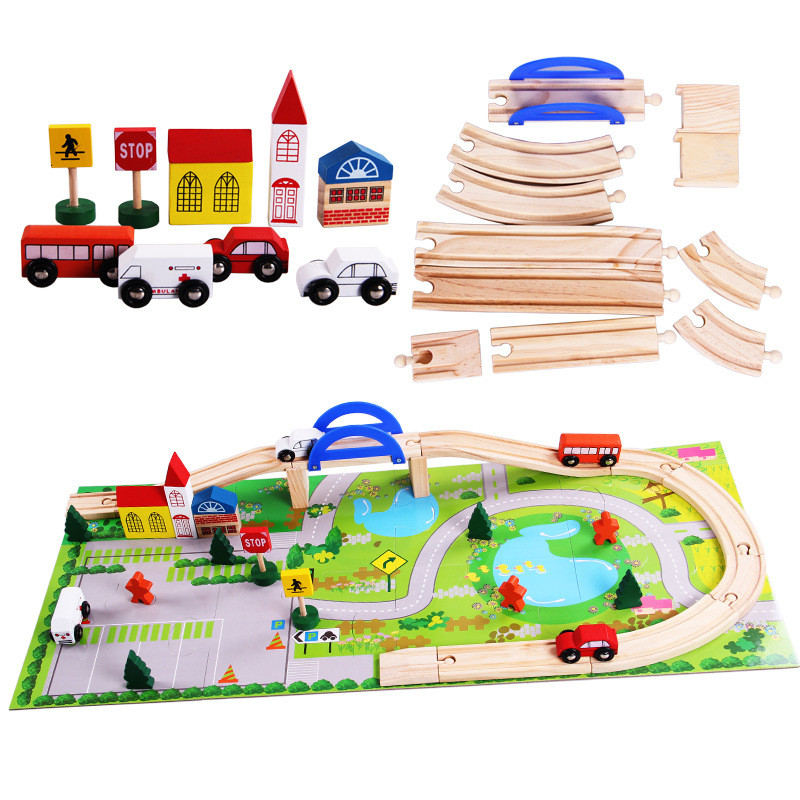 49pcs Train Toy Set Model Cars Wood Traffic Combination Toy DIY Assembled Wooden Train Track Bridge Role-Playing Games for Boys