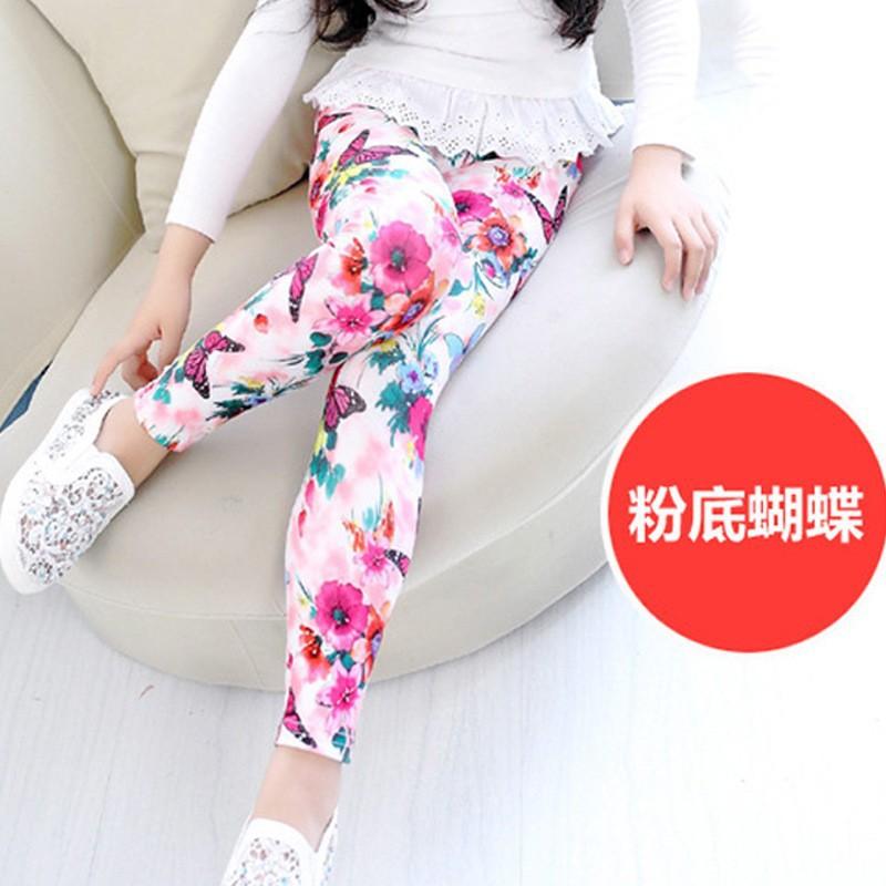 New Style Spring Autumn Children Leggings Flower Butterfly girls pants kids legging 6
