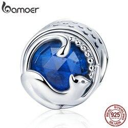 BAMOER 100% 925 пробы серебро игральная котенок кошка синий CZ Шарм бисер браслет шарма и браслеты DIY ювелирных изделий SCC708