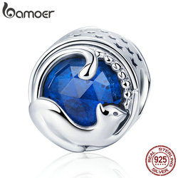 BAMOER 100% 925 Sterling Silver Playing Kitten Cat Blue CZ Charm Beads fit Charm Bracelet & Bangles DIY Jewelry Making SCC708