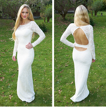 New Arrival Sexy Backless Sheath Long Sleeves Evening   Dresses   Floor Length White Lace   Prom     Dresses   516