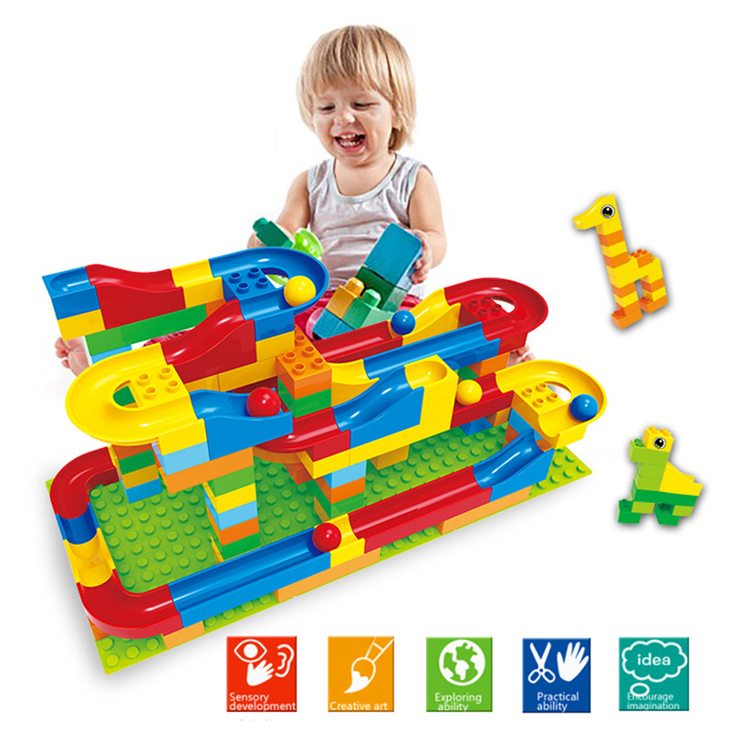 73Pcs/Set Fun Plastic DIY Assembly Race Run Track Colorful Construction Kids Gaming Balls Rolling Maze Track Building Blocks ball run track game toy wooden puzzles diy mini tree baby kids education puzzles fun kids toys m3011