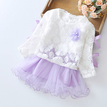 Cute lace lengthy Sleevels Princess Child Woman Dresswith flower Cotton Toddler Clothes Child Woman Garments