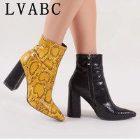 New Chelsea Boots 2019 Women Zipper Boots Snake Print Ankle Boots Square heel Fashion Pointed head Ladies Sexy shoes yellow32 43