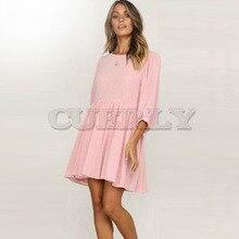 Cuerly 2019 New Spring Fashion Women Casual Sexy Lantern Half Sleeve O-neck Solid Color Dress Summer Mini Vestido L8