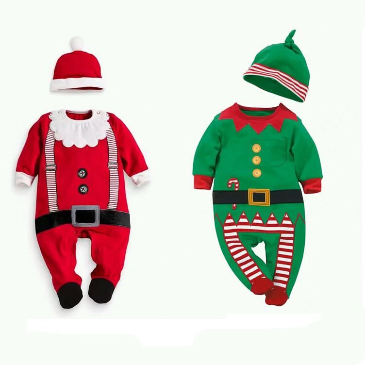 2016 New Christmas Infant Boys Girs font b Rompers b font Suit Hat font b Rompers