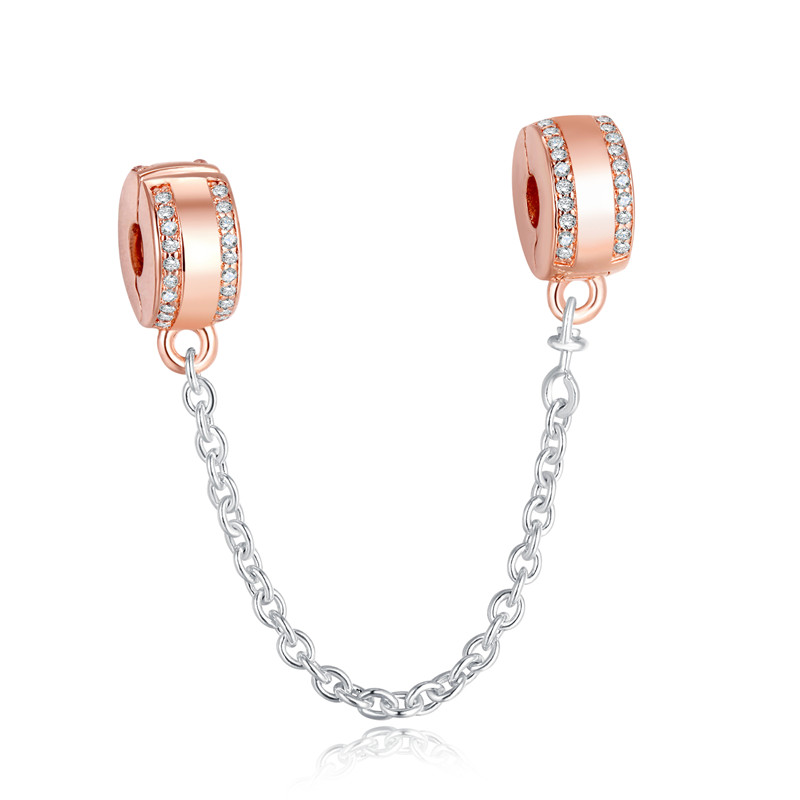 Insignia Safety Chain Crystal Stopper Beads for Jewelry Making Fashion Silver 925 Jewelry Rose Golden Beads for DIY Bracelets