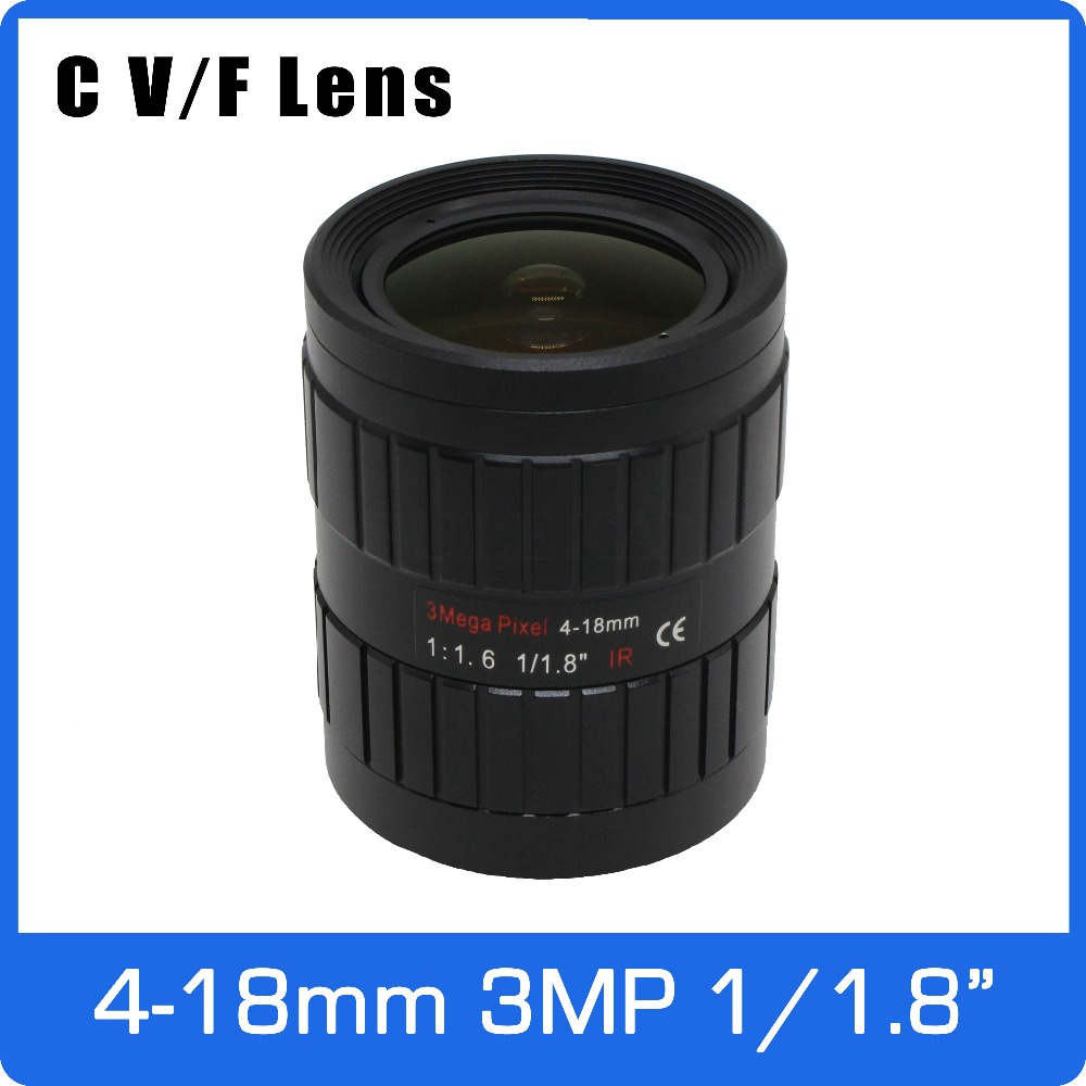 3Megapixel Manual IRIS Varifocal CCTV Lens 1/1.8 inch 4-18mm C Mount For SONY IMX185 1080P Box Camera IP Camera Free Shipping 3mp 4 18mm cctv lens manual iris varifocal 1 1 8 inch c mount industrial lens for imx185 1080p box camera ip camera