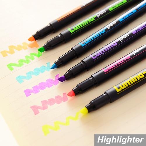 6 pcs/Lot Lumina pens Highlighter for paper copy fax DIY drawing Marker pen Stationery office material School supplies 6718