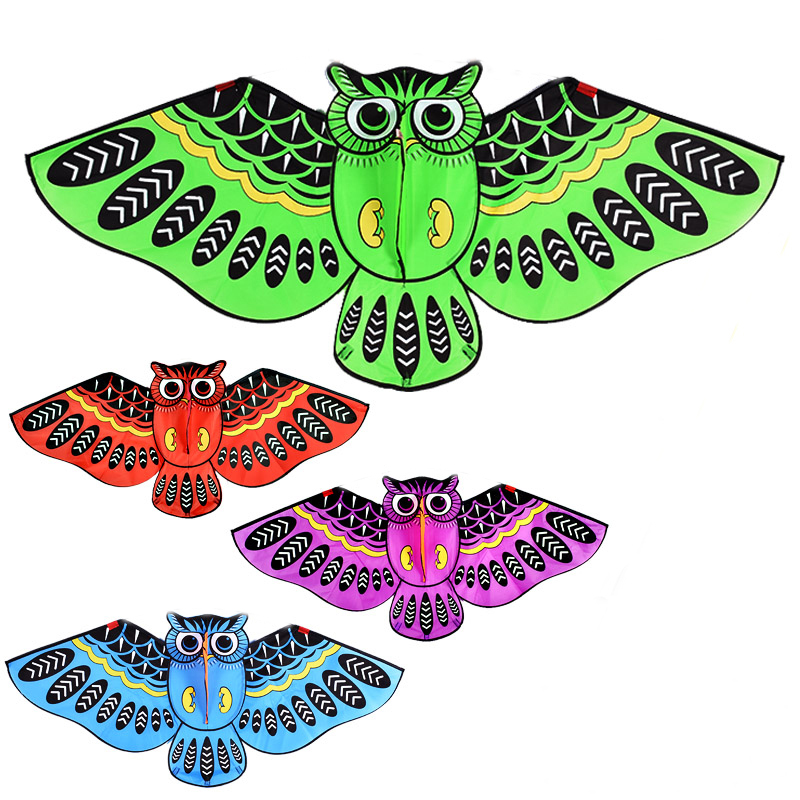 free shipping 1.5m large owl kite ainimal kite reel single line bird kite outdoor fun sports easy to fly for kids toys 4 colors