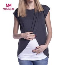 Women's Blouse Maternity Nursing Wrap Top Cap Sleeves Double Layer Blouse Spring Autumn newet style hot sale fashion Blouse