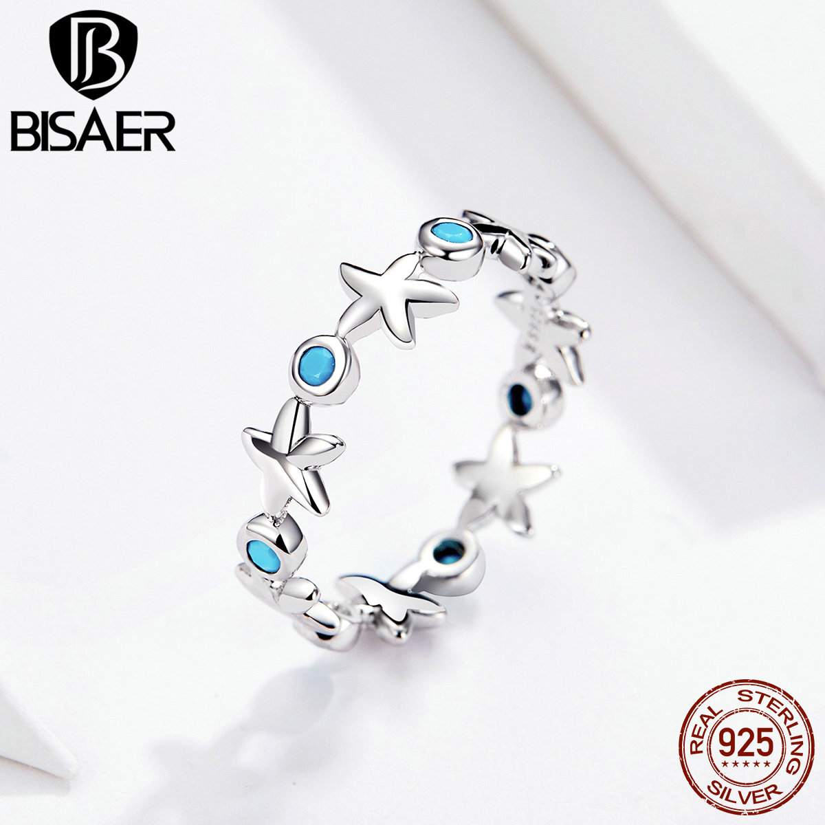 BISAER Flower 925 Sterling Silver Stackable Starfish Shape Finger Rings For Women 6 7 8 Size Wedding Ring Jewelry Anel ECR527