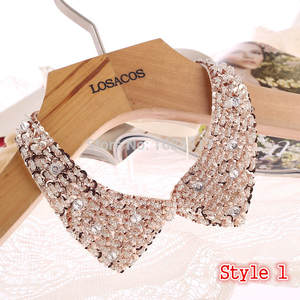Choker Necklaces Clothing-Accessories Ribbon Beaded Knitted-Cloth Sequined U-Choose Fake Collar