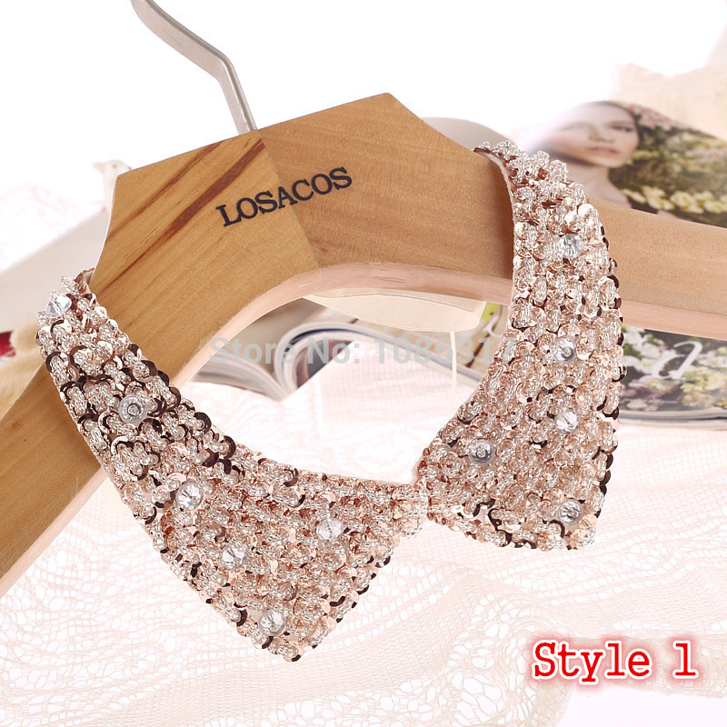 8 Styles Fashion women Sequined beaded knitted cloth Ribbon Fake collar Choker Necklaces clothing accessories U choose(China)