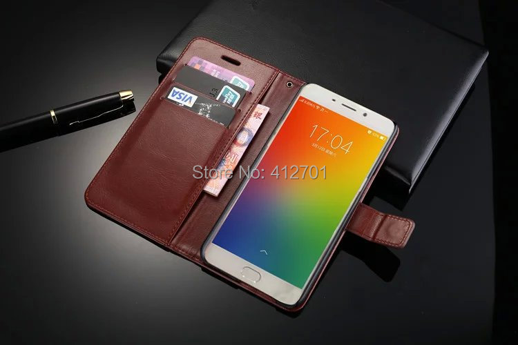 50Pcs/Lot Free Shipping Book Crazy Horse Lines Leather Wallet Case Stand Cover With Card Slots For Oppo R9 For OPPO F1 Plus