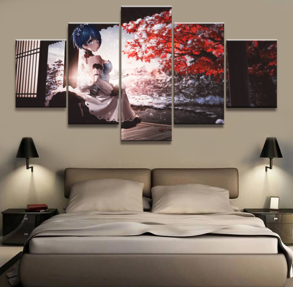 Re Life in a different world from zero animation 5 Piece HD Print Wall Art Canvas Art For Living Room Decor Painting Wall Art in Painting Calligraphy from Home Garden