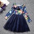 2017 Niñas Vestido de Flores de Impresión Para la Primavera Otoño Muchachas de La Princesa Encantadora de Manga Larga de Gasa Vestido de La Manera Del Cabrito Ropa Kid School