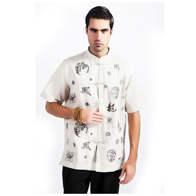 096ca112c8 Beige Chinese Traditional Men Kung fu Shirt Cotton Linen Shirt Summer Short  Sleeve Tops Dragon Size