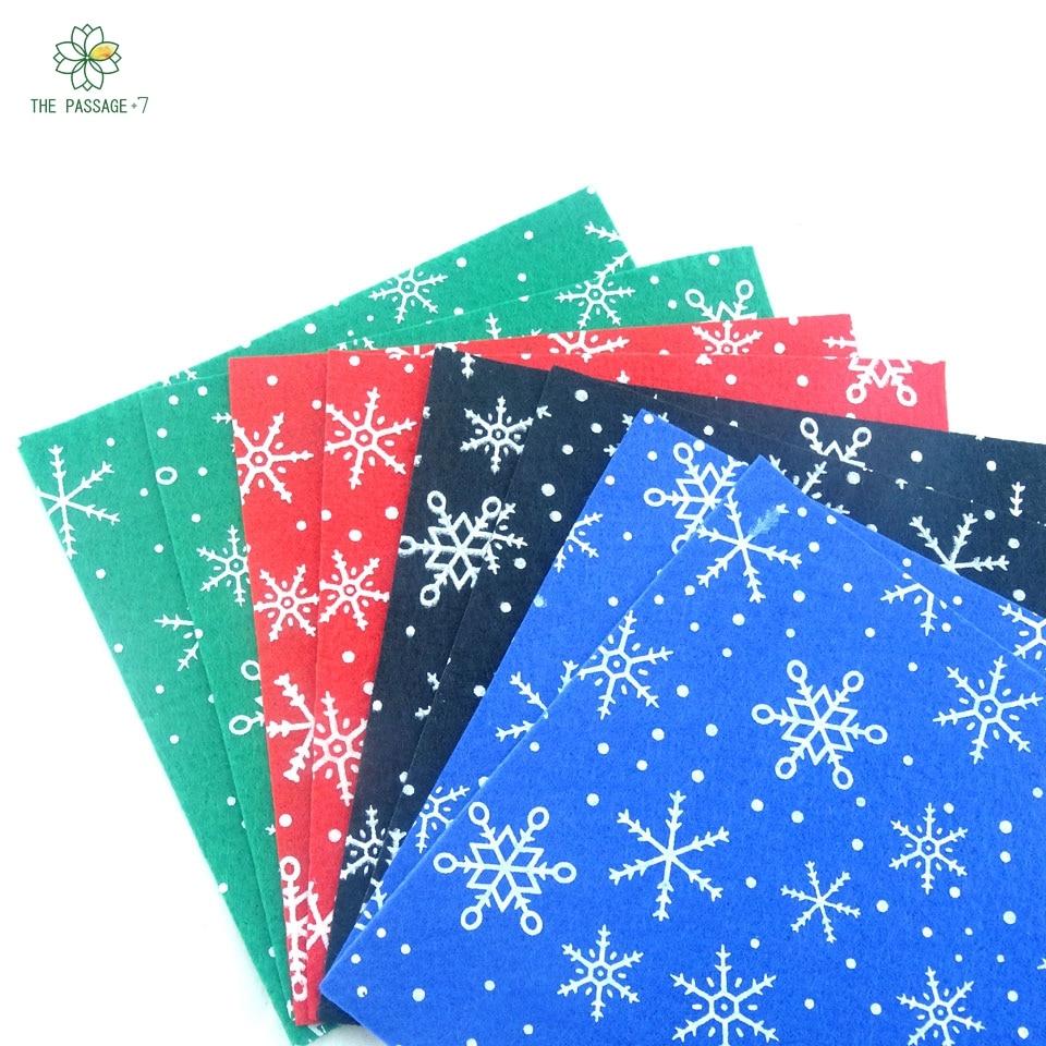 Poliéster sentiu tecido não tecido material de neve flocos de neve de natal  new diy handmade costura decoração de casa thickness1mm 15x15cmM-8-I a7349ae60b