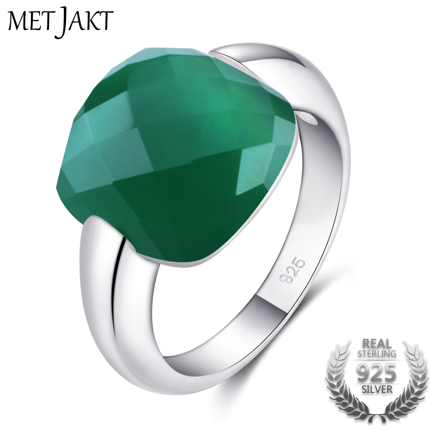 MetJakt Classic Natural Gemstone Square Emerald Color Rings Solid 925 Sterling Silver Agate Ring for Women