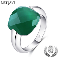 MetJakt Classic Natural Gemstone Square Emerald Color Rings Solid 925 Sterling Silver Agate Ring for Women Vintage Jewelry