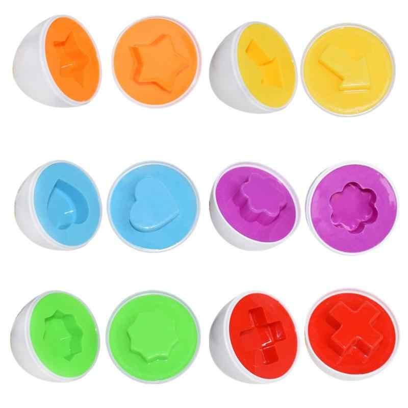 子供スマート卵パズルゲームおもちゃ子供色の幾何学的形状認識マッチングおもちゃモンテッソーリ学習教育数学のおもちゃ