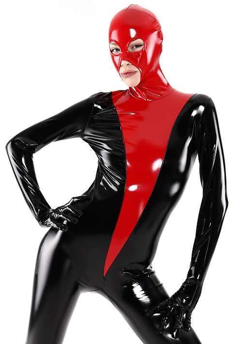 ラテックスゴムキャットスーツグローブフルボディスーツタイツ赤と黒サイズ XS 〜 XXL
