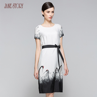 Jane Story woman dress vintage ink crane print slim classical female empire with belt bodycon dress chiffon dress office dress