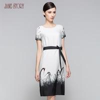 Jane Story woman dress vintage ink crane print slim classical female empire with belt bodycon dress chiffon dress office dress