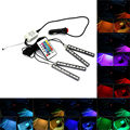 Car Styling 9LED Colorful RGB Car Interior Floor Decorative Atmosphere Lamps LED Strip Light With Remote Control