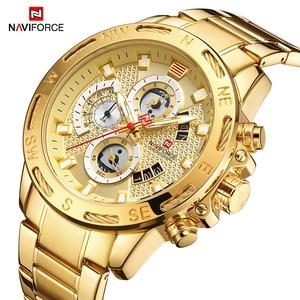 Image 3 - Orijinal NAVIFORCE lüks marka erkek spor saatler altın tam çelik su geçirmez askeri kuvars kol saati Relogio Masculino