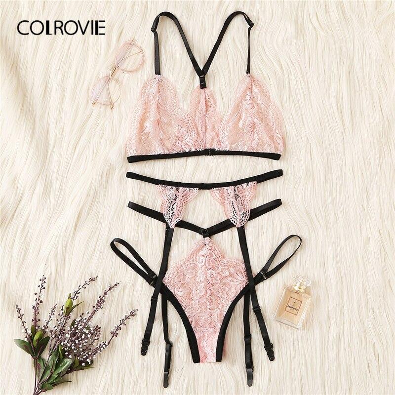 COLROVIE Pink Harness Garter Lace Sexy Intimates Women Lingerie Set 2019 Wireless Cute Transparent Ladies Underwear Bra Set