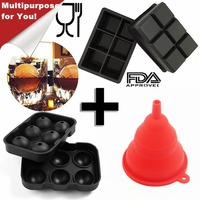 1 Set 6 Hole Ice Cube Ball Drinking Wine Tray Brick Round Maker Mold Sphere Mould