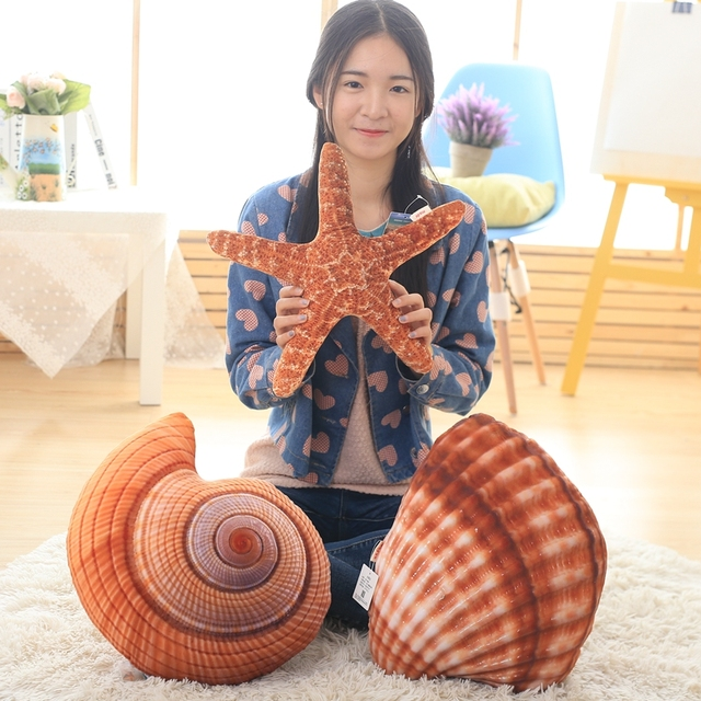 1pc Super Lovely Simulation sea life Starfish Shell Conch Pillow Soft Stuffed Bedroom Sofa Cushion High Quality Child Gifts