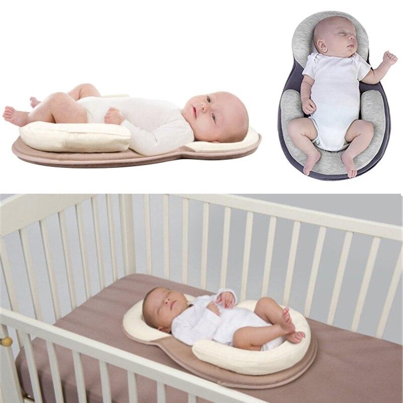 Dropship Bebê Travesseiro Bebê Recém-nascido Travesseiro Colchão Pad Prevent Cabeça Chata Forma de Posicionamento Do Sono Do Bebê Anti Rolo Almofadas