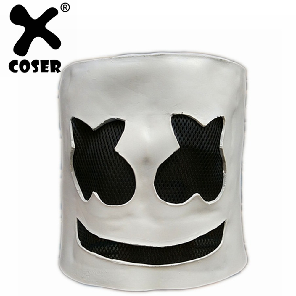 XCOSER Halloween Head Full Face DJ Mask Latex Funny Mask For Cosplay Party Masquerade Marshmello Bars Masks Without LED