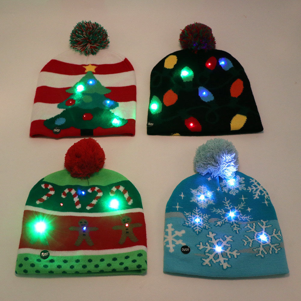 Us 4 99 Christmas Ornaments Decoration Hats Led Light Up Hat Beanie Warm Protective Cap Tree In
