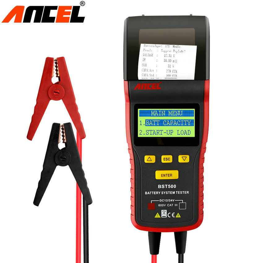 Ancel BST500 12V & 24V Automotive Battery System Tester With Printer Vehicle Battery Analyzer Detect Car Heavy Truck Bad Battery  em281 mini 12v 24v automotive battery tester lcd bar indication battery load tester electrical all sun em281 battery analyzer