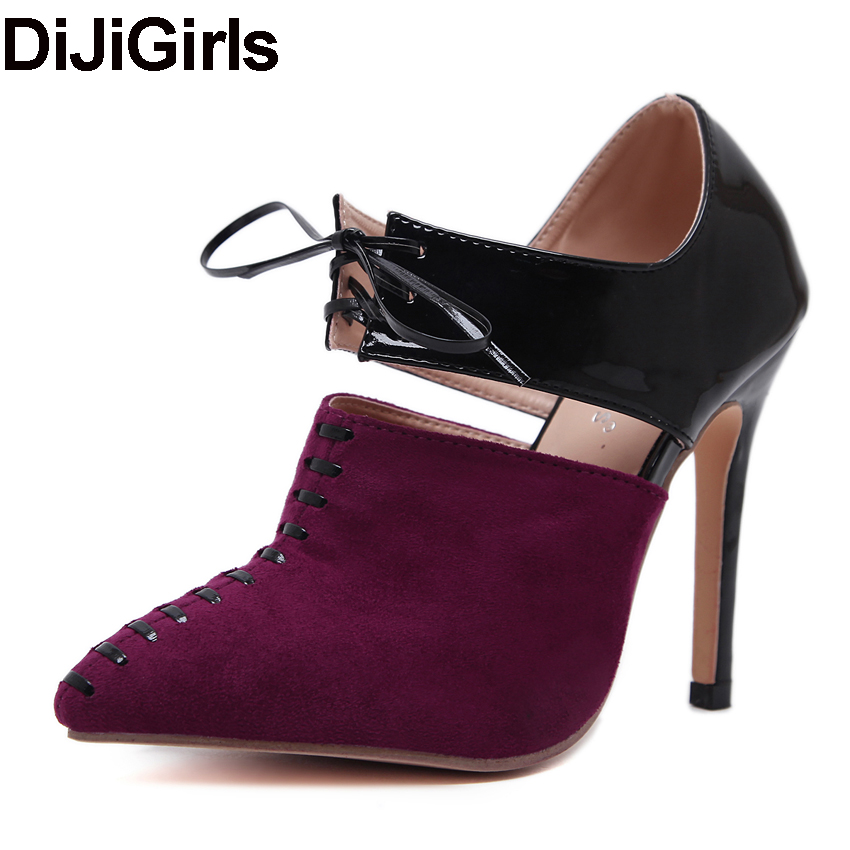 DiJiGirls Women Pumps Lace Up Cutouts High Heels Patchwork Shoes Woman Gladiator Thin Heel Hippie Casual Stiletto Sapatos Spring