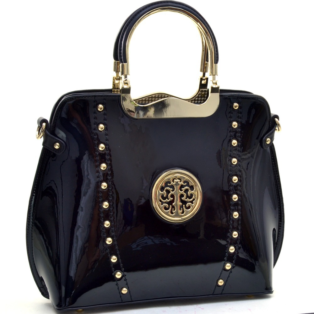 Women Handbag Gold Tone Studded Patent Metal Handle Flat Bottom Emblem Bag  Patent Leather Shoulder Bag-in Shoulder Bags from Luggage   Bags on ... d449400ebc090