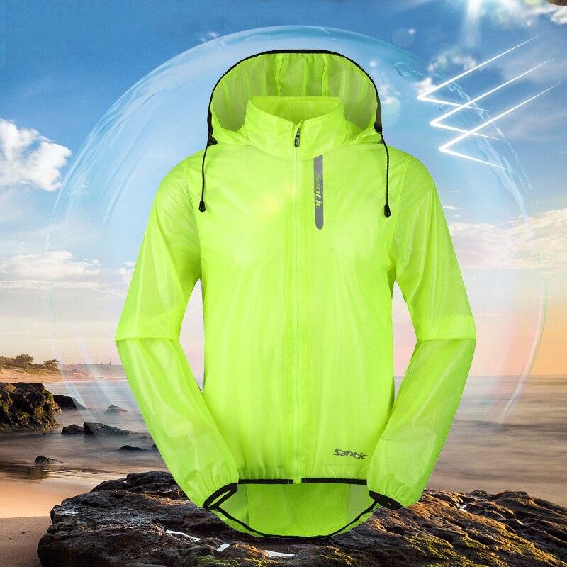 Santic hommes cyclisme coupe-vent veste Anti-UV réfléchissant à capuche peau manteau anti-éclaboussures eau ultraléger vêtement de sport coupe-vent