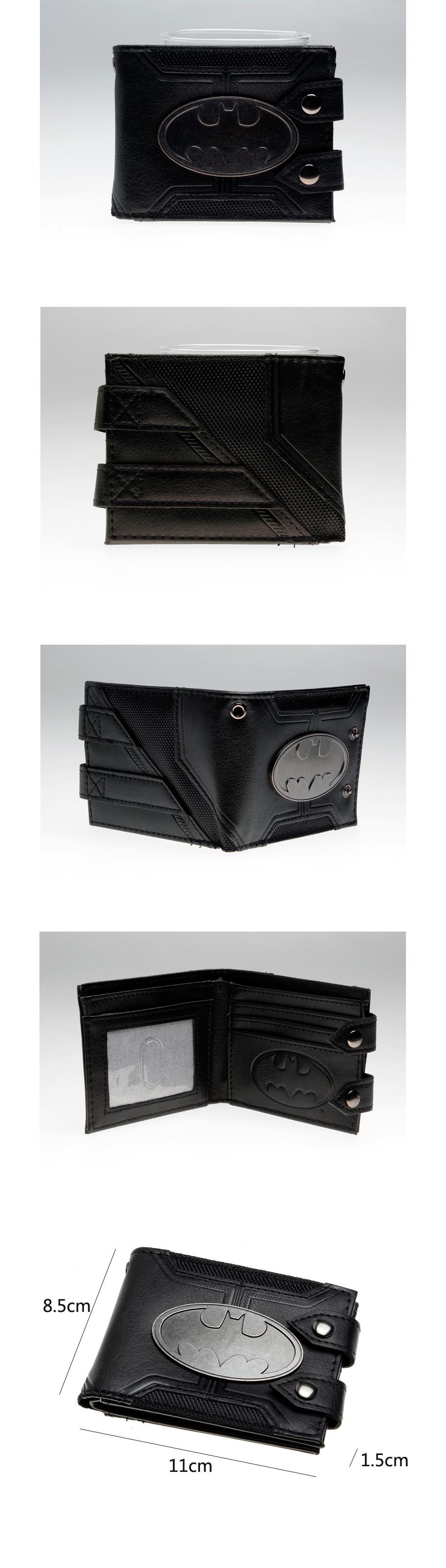 Batman Black Double Hasp Metal Badge Bi-Fold Unisex Wallet