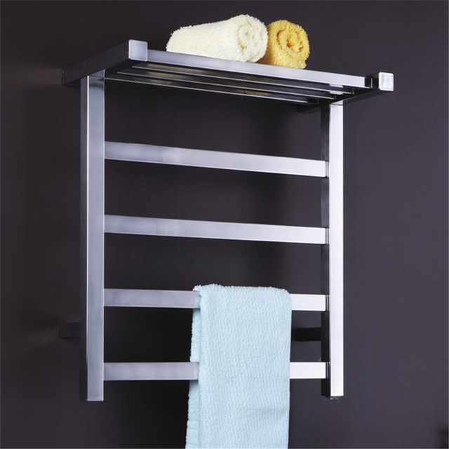 Free Shipping New 304# Stainless Steel Square Tube Heated Towel Rail  Electric Towel Warmer/