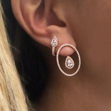 Boucles d'oreilles double face pour femmes, AAA, zircone cubique, cz, géométrique, élégance, mariage, fiançailles, ovales, nouveau style