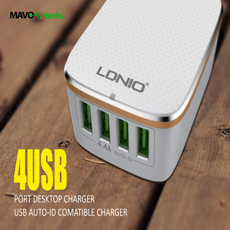 LDNIO 2016 Newest 4 USB Ports 4.4A Fast Travel Charger Adaptive Rapid Charging for iphone 7/6/5 ipad for Samsung LG tablets