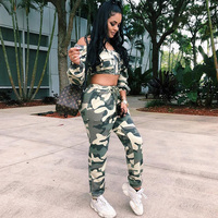 2018 Sexy Matching TWO PIECE SET Camoflage Off Shoulder Crop Top Outfits Women Clothing Camo Military Pants Runway Leisure Suit